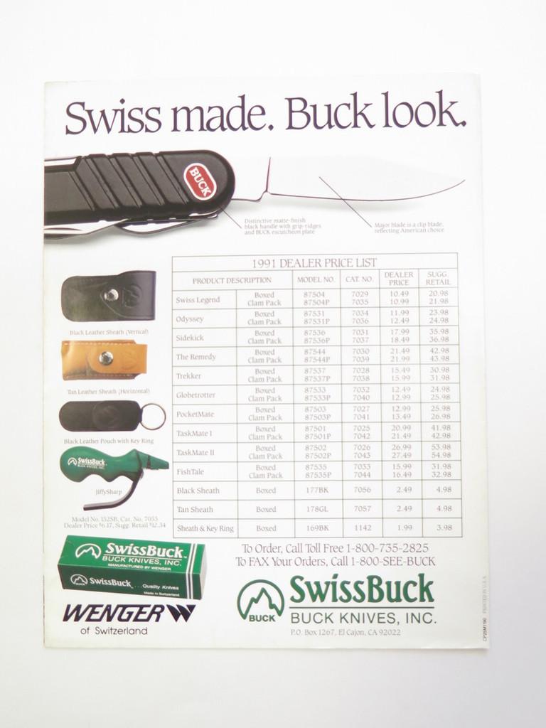 1980s BUCK DEALER SWISS TOOL KNIFE CATALOG BOOK FOLDING 110 124 119 184