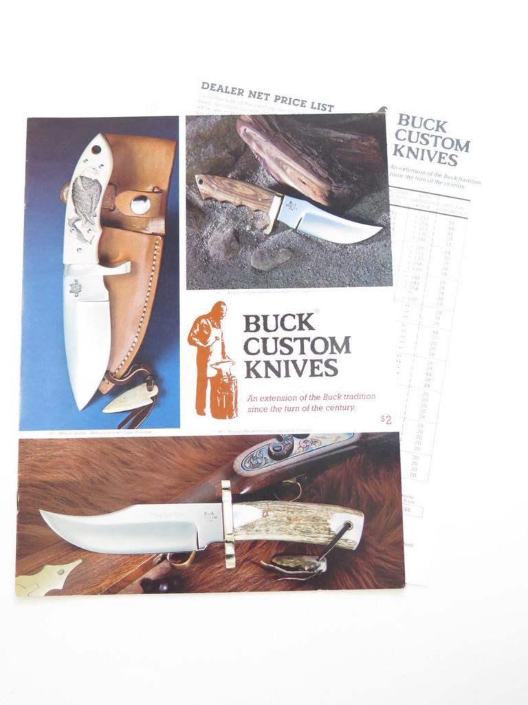 1988 BUCK CUSTOM KNIFE DEALER CATALOG PRICE LIST FIXED STAG 110 124 119 184