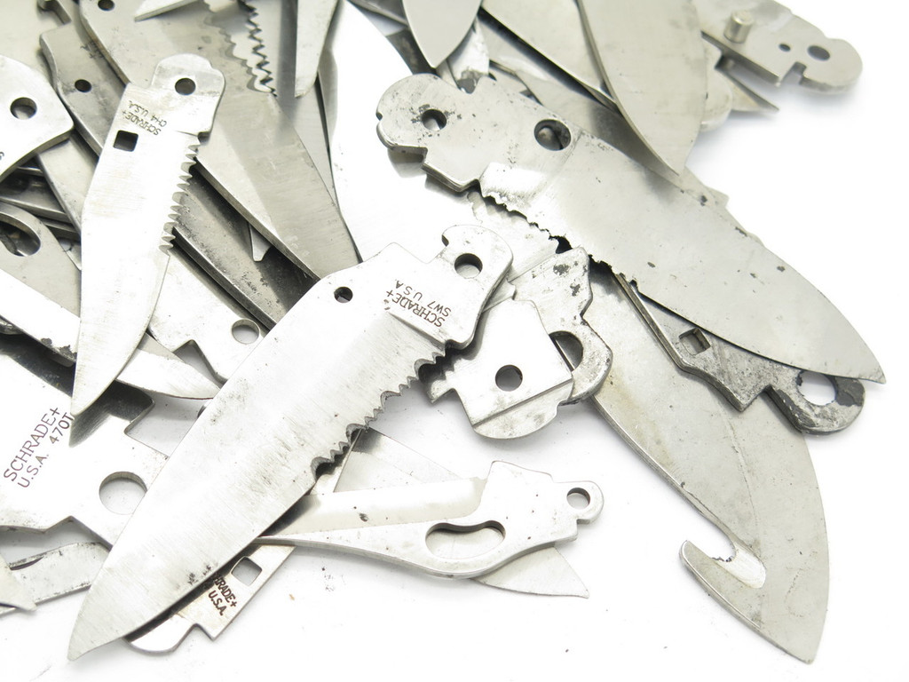 MISC. LOT 60 + VTG SCHRADE USA FOLDING POCKET KNIFE TOOL BLADE BLANK MAKING PART