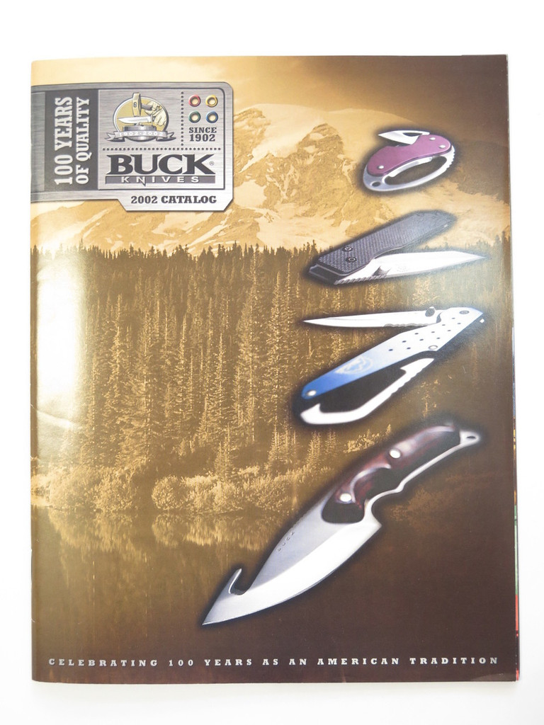 2002 BUCK 100 YEARS DEALER KNIFE CATALOG BOOK FIXED FOLDING 110 124 119 184