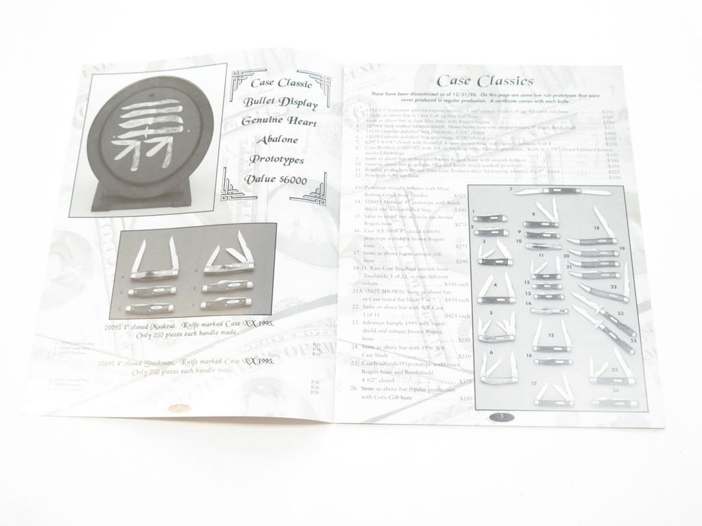 1998 CASE XX CLASSICS DEALER FOLDING KNIFE CATALOG PRICE LIST UPDATE BOOKLET