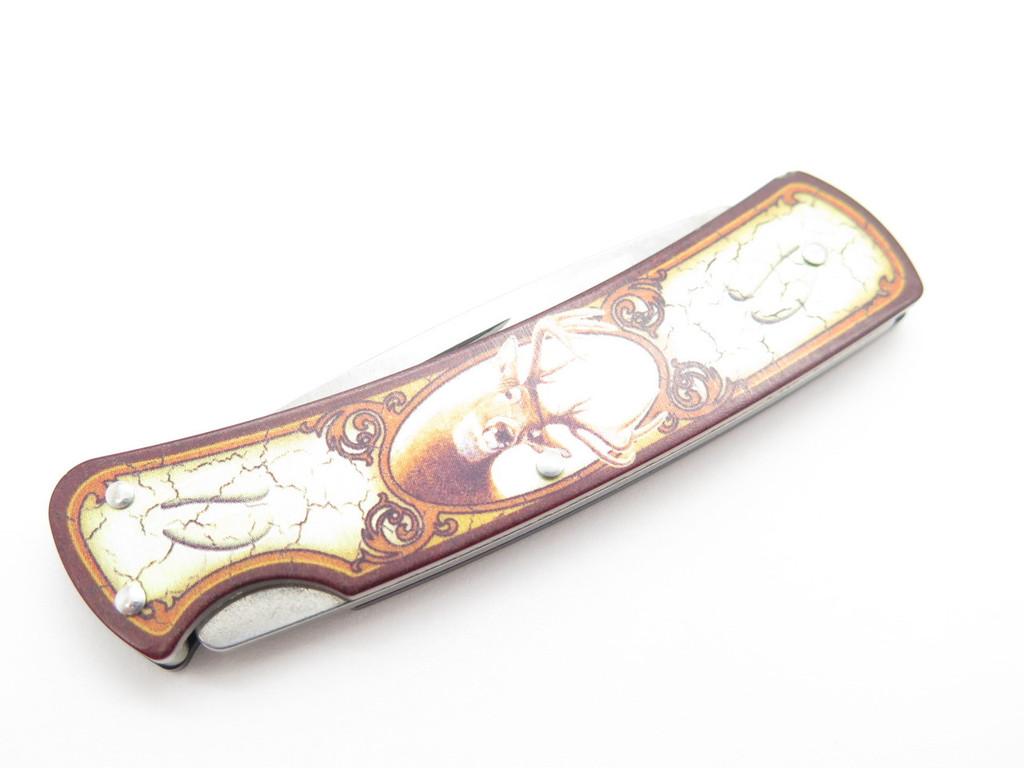 2001 BUCK 525 GENT DEER HEAD PICTURE SMALL LOCKBACK FOLDING POCKET KNIFE