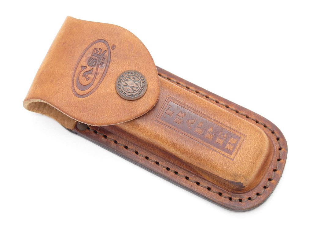 "*BLEM* CASE XX 4 1/4"" TRAPPER STOCKMAN LEATHER FOLDING POCKET KNIFE SHEATH"
