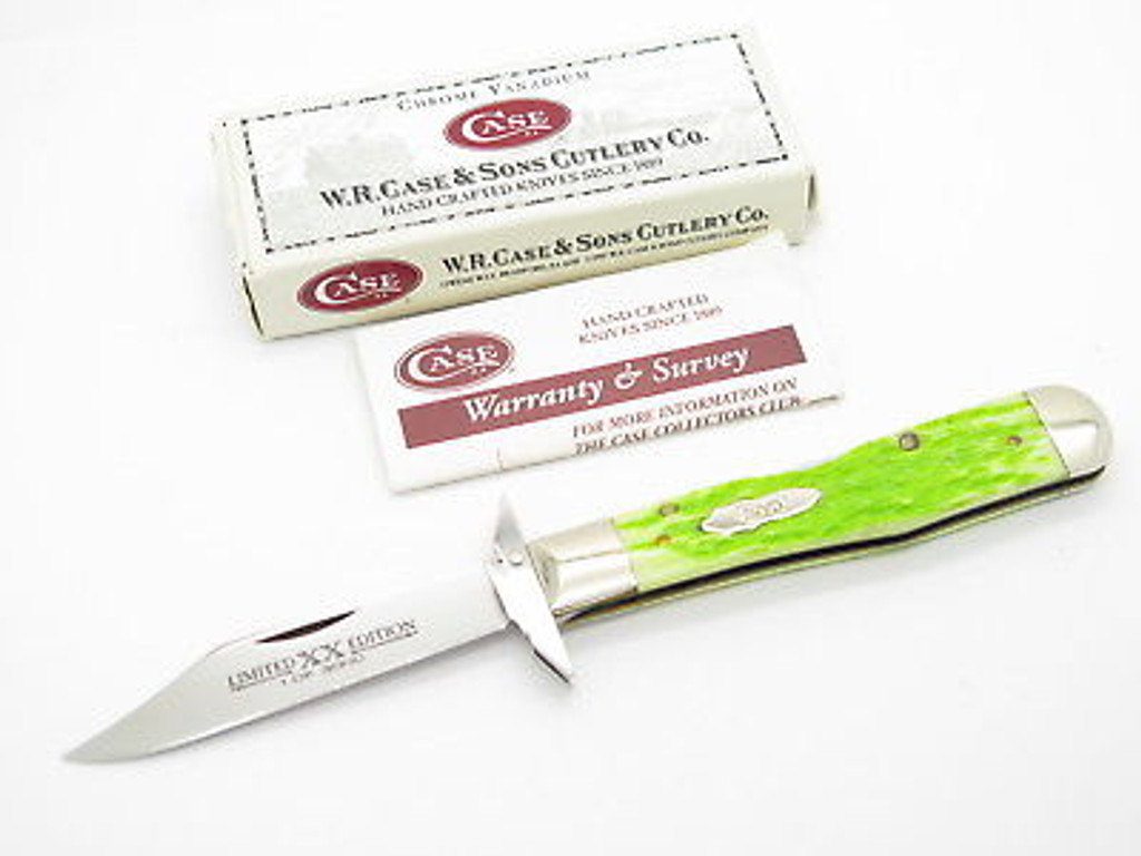'04 CASE 6111 1/2 LIME GREEN JIGGED BONE CHEETAH SWING GUARD KNIFE LIMITED