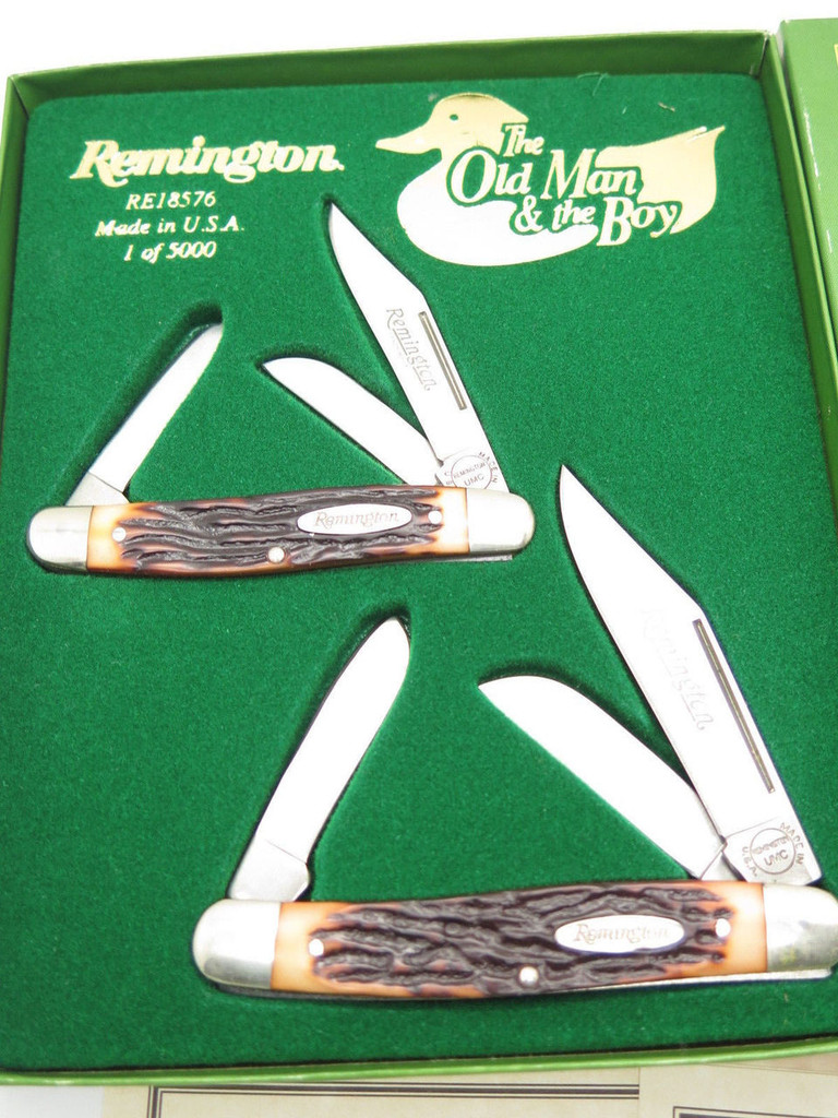 1998 REMINGTON UMC RE18576 OLD MAN & BOY STOCKMAN FOLDING POCKET KNIFE SET