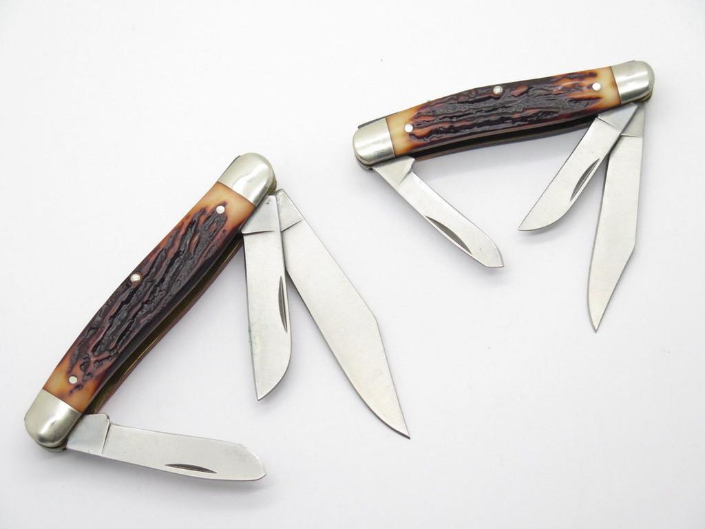 1998 REMINGTON UMC RE18576 OLD MAN & BOY STOCKMAN FOLDING POCKET KNIFE SET