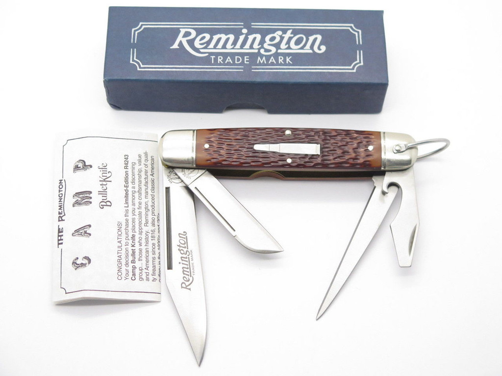 1994 REMINGTON UMC USA R4243 CAMP SCOUT FOLDING POCKET BULLET KNIFE & BOX