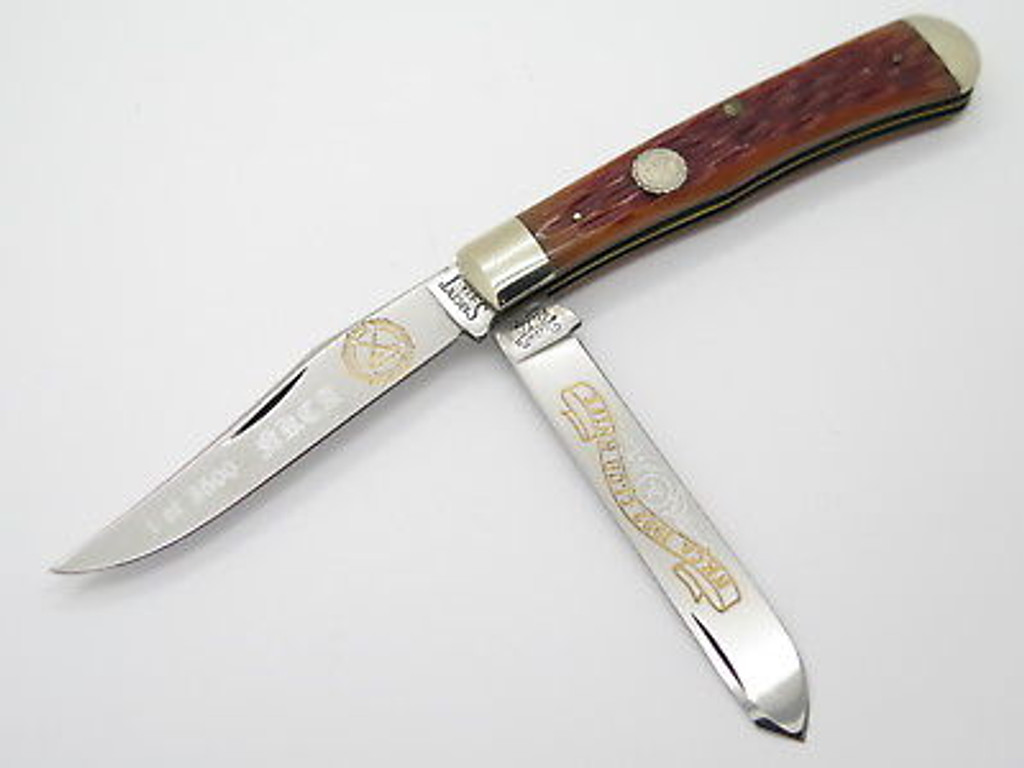 1992 QUEEN CITY SARGENT NKCA CLUB TRAPPER FOLDING POCKET KNIFE in CASE