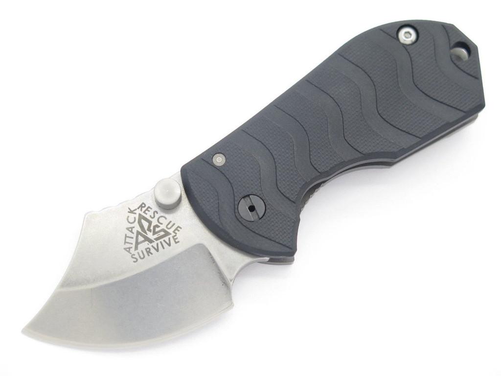 ARS ATTACK RECUE SURVIVE CUSTOM FLIP SHANK TITANIUM FRAMELOCK KNIFE 154CM BLACK