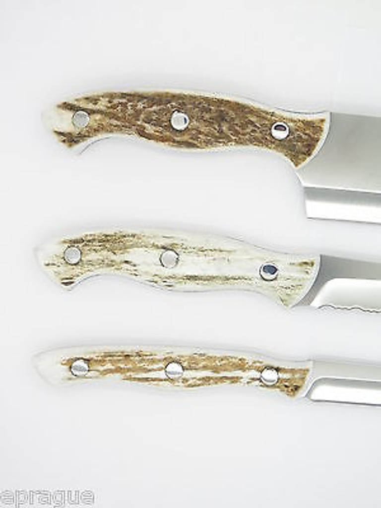 BUCK 0930EKS3 930 ELK STAG ANTLER KITCHEN 3 KNIFE CUTLERY SET CHEF SLICER PARING