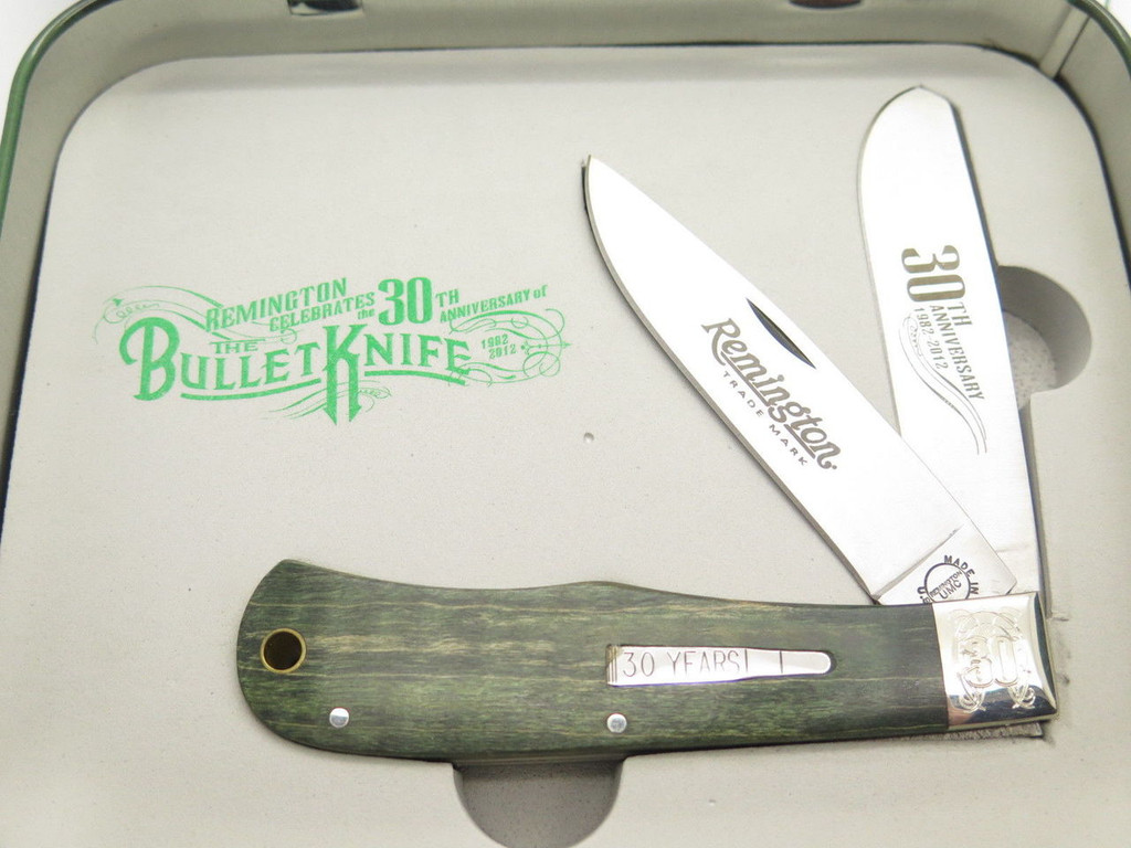 '12 REMINGTON UMC USA R1128 TRAPPER BULLET FOLDING HUNTER KNIFE 30th LIMITED TIN