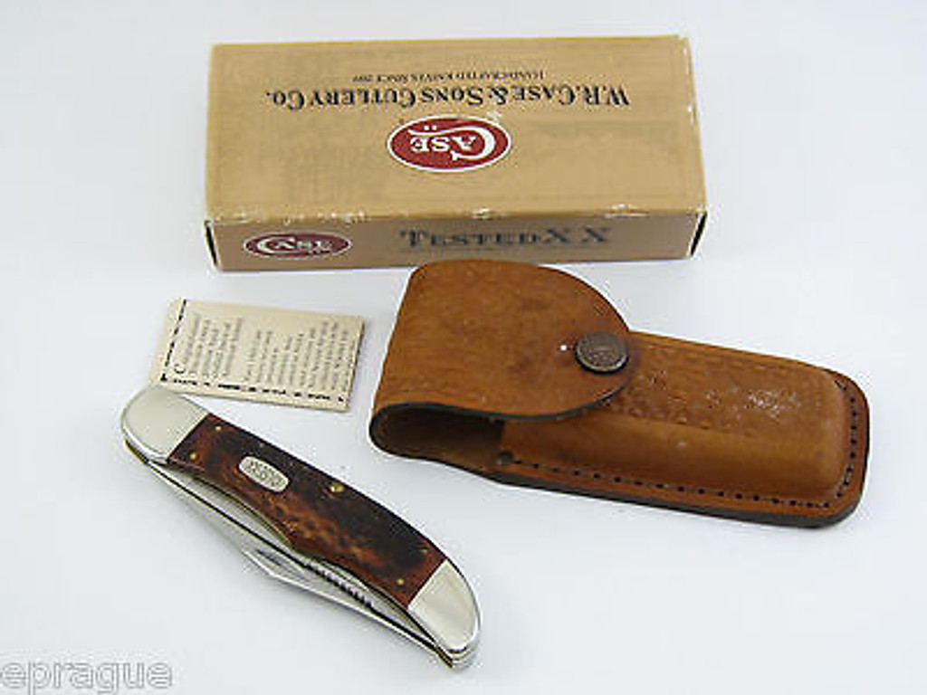 1999 CASE XX 6265 STAINLESS WOOD HANDLE FOLDING HUNTER KNIFE & SHEATH
