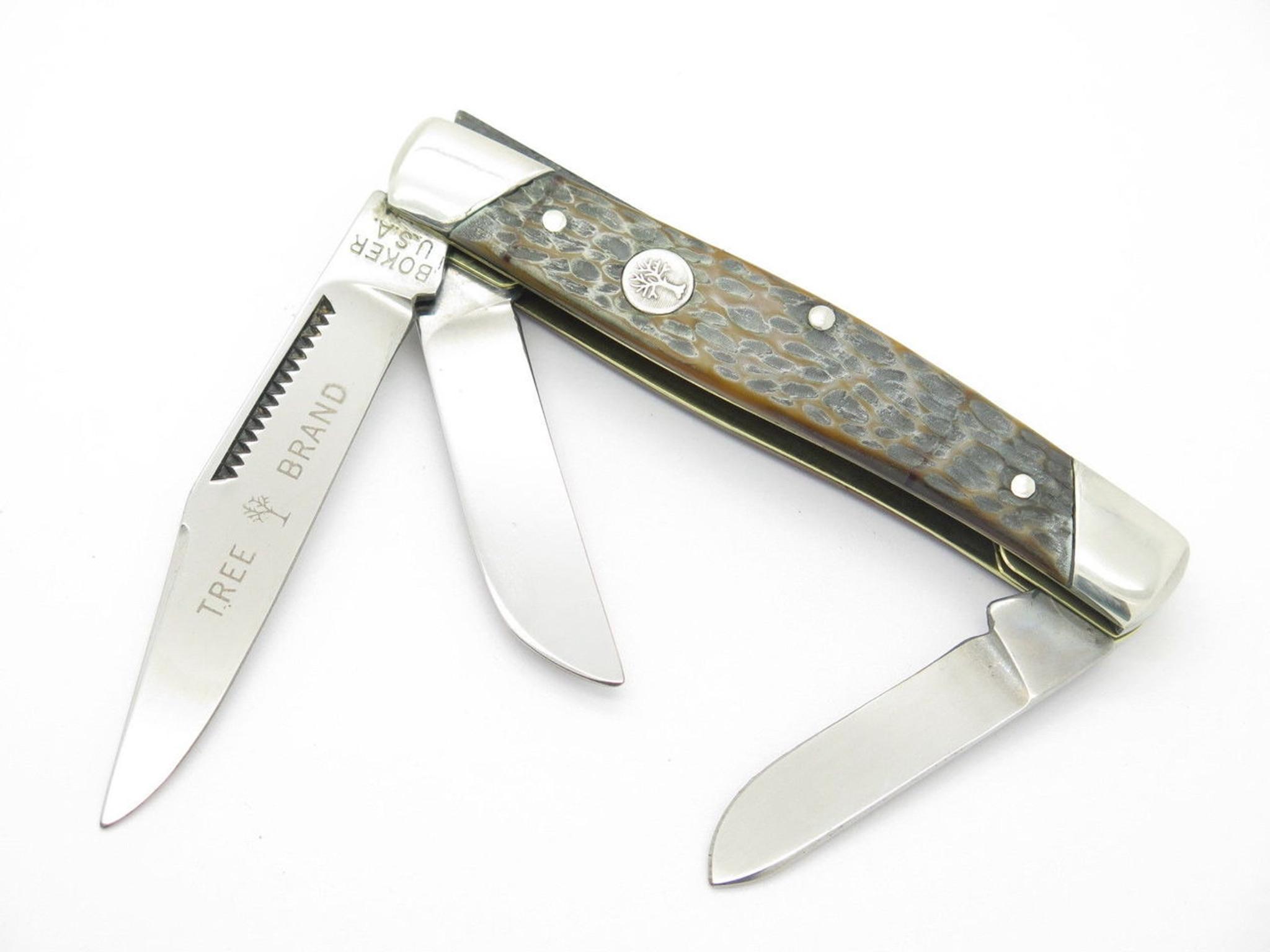 vintage 1970s boker usa tree brand 9885 3 blade stockman folding