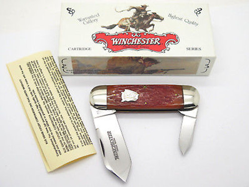 1995 WINCHESTER 29110 CLASSIC BONE ELEPHANT TOENAIL FOLDING KNIFE in CASE