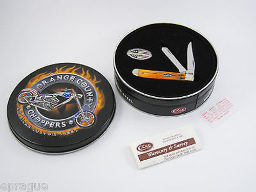 2005 CASE XX 6207 06900 ORANGE COUNTY CHOPPERS MINI TRAPPER POCKET KNIFE TIN