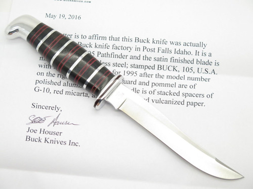 BUCK CUSTOM SHOP 105 PATHFINDER STACKED BLACK G10 HUNTING KNIFE FIXED BLADE