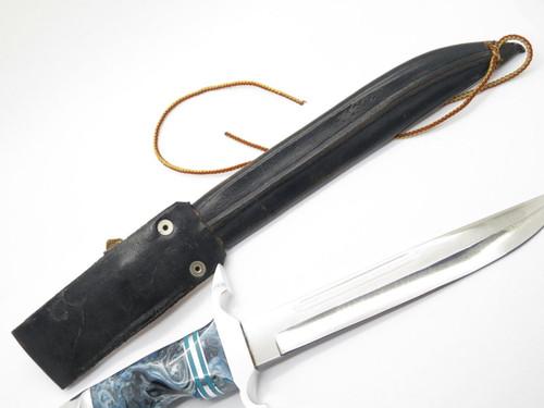 Vtg 1972 Custom USA Blue Swirl File Blade Fixed Hunting Fighter Knife & Sheath