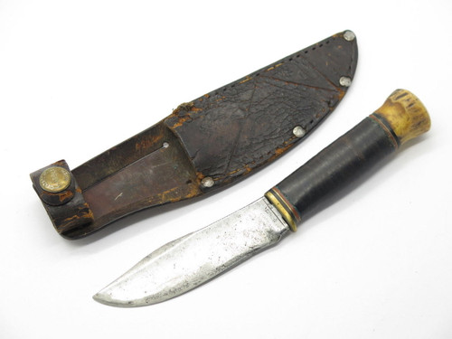 VINTAGE PAT PEND MARBLES GLADSTONE MI WOODCRAFT FIXED BLADE HUNTING KNIFE STAG