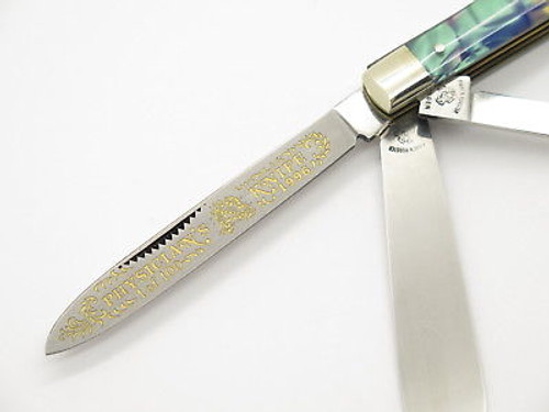 1996 FIGHT'N ROOSTER FRANK BUSTER PAUA CELLULOID DOCTOR FOLDING KNIFE