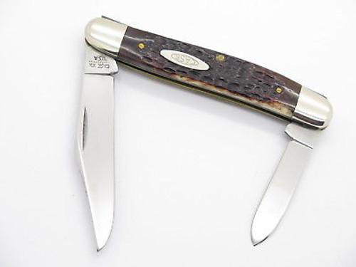 Vtg 10 Dot 1980 Case XX 06247 Bone Folding Pocket Stockman Pen Knife