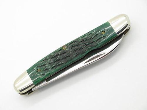 Vtg 1982 Case XX Muskrat Hawbaker Special Folding Pocket Knife Green Bone