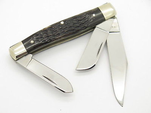 Vtg 1980 Case XX 6375 Large Stockman Jigged Bone Folding Knife
