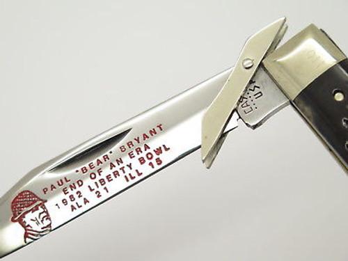 Vtg 1980 Case XX 6111 1/2 Cheetah 1982 Paul Bear Bryant Swing Guard Knife