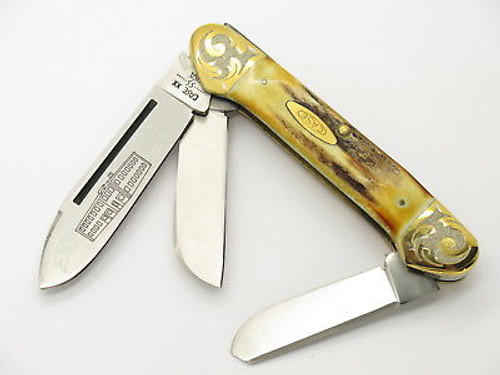 '80 CASE XX 5394 CANOE LARGE 3 BLADE SAMBER STAG FOLDING POCKET KNIFE GOLD SCROLL