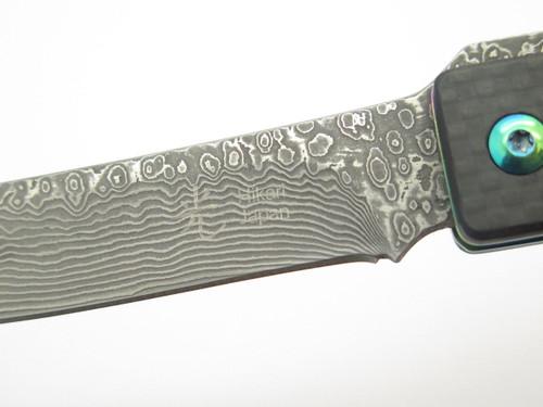 Hikari HK107DCF Seki Japan Higo Higonokami Carbon Fiber Damascus Pocket Knife