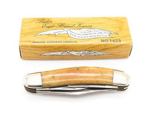 Vtg Parker Seki Japan 5 Blade Bone Sowbelly Folding Pocket Knife & Box