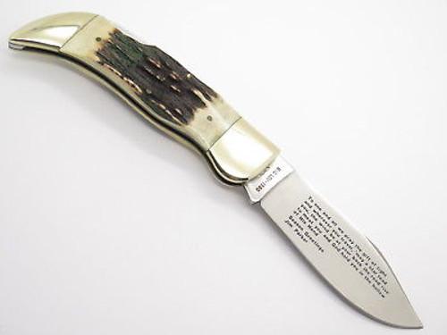 VINTAGE 1980 HOLIDAY PARKER JAPAN LAST SUPPER STAG FOLDING HUNTER CLASP KNIFE