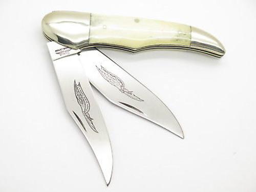 Vtg Parker Custom Series Seki Japan Bone Big Folding Hunter Trapper Knife