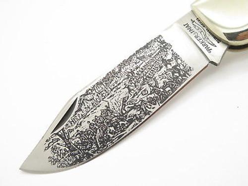 VINTAGE 1980 PARKER SEKI JAPAN USA CIVIL WAR STAG FOLDING HUNTER CLASP KNIFE