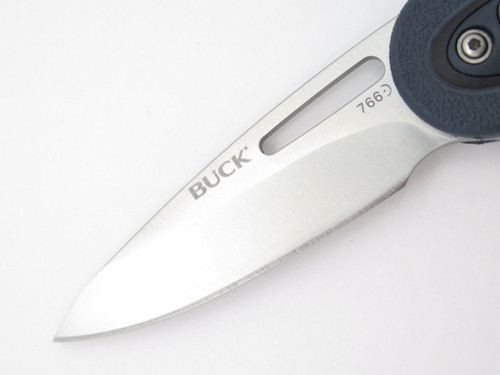 Buck 766bks 766 Revel Black Blue Button Lock Medium Folding Pocket Knife & Clip