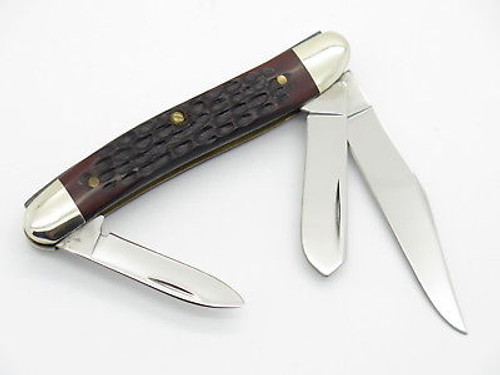 Vtg 1980 Case XX 087 Stockman Jigged Delrin Folding Pocket Knife Near Mint