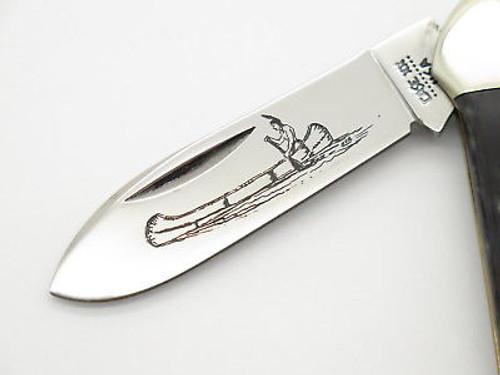 Vtg 10 Dot 1980 Case XX 62131 Jigged Bone Canoe Folding Pocket Knife