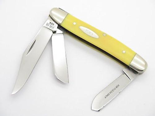 Vtg 1980 Case XX 3347 Yellow Delrin Stockman Folding Pocket Knife