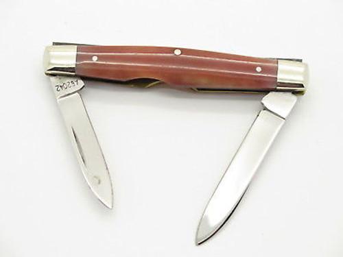 Vtg 1980 Case XX 62042 Red Appaloosa Bone Folding Pocket Pen Knife