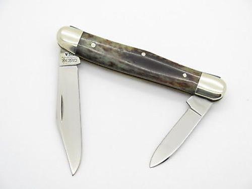 Vintage 1980 Case XX 6208 Appaloosa Bone Half Whittler Folding Pocket Knife