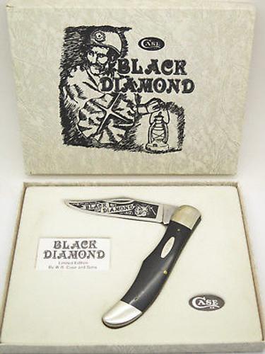 Vtg 1984 Case XX 2165 Sab Black Diamond Miner Folding Hunter Knife & Box