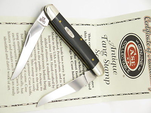 2015 CASE XX MUSKRAT BLACK DELRIN FOLDING POCKET KNIFE ANTIQUE STAMP