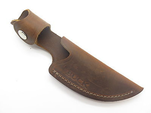 BUCK 193 194 ALPHA HUNTER BROWN DISTRESSED LEATHER FIXED BLADE KNIFE SHEATH