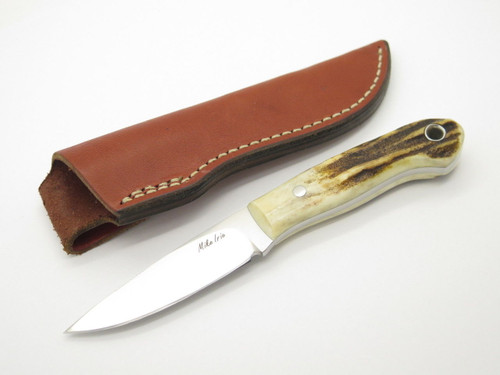 "Custom Mike Irie Sambar Stag CPM-154 Drop Point 3"" Fixed Blade Hunting Knife"