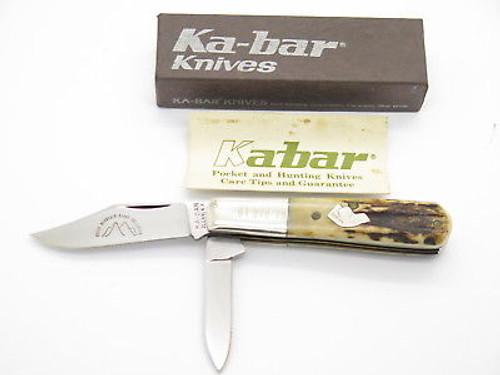 VINTAGE 1984 KA BAR LO ROCKY MOUNTAIN CLUB DOG HEAD STAG BARLOW FOLDING KNIFE