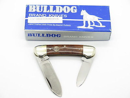 VINTAGE 1996 BULLDOG BRAND PIT BULL BURLWOOD CANOE FOLDING POCKET KNIFE