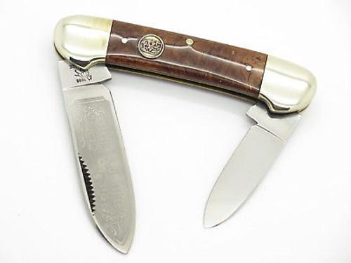 VTG 1996 BULLDOG BRAND PIT BULL BURLWOOD CANOE FOLDING POCKET KNIFE
