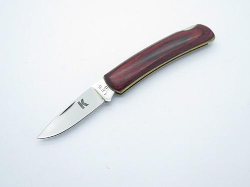 """Vtg """"K"""" 1256 Seki Japan Small Gentleman Wood 440 Stainless Folding Pocket Knife"""