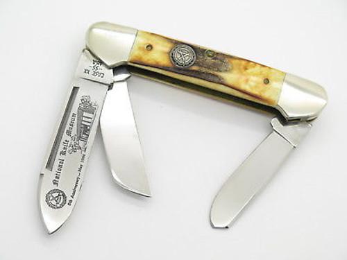 Vintage 1986 Case XX 5394 NKCA Stag 3 Bld Folding Gunboat Canoe Pocket Knife