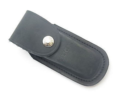 BUCK 598 588 889 STRIDER DISTRESSED BLACK LEATHER FOLDING HUNTER KNIFE SHEATH