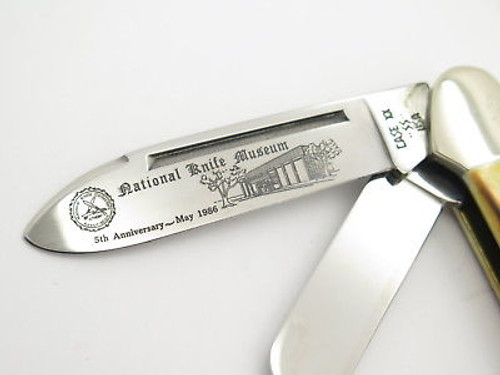 Vintage 1986 Case XX 5394 NKCA Stag 3 Blade Folding Gunboat Canoe Pocket Knife